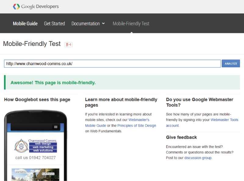 Charnwood Comms Passes Google's Mobile Friendly Tests