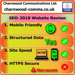 SEO 2018 Website Review Scores for Charnwood Comms