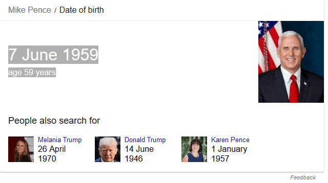Google Search for Vice President Mike Pence's Birthday