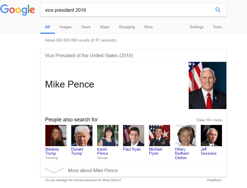 Google Search for Vice President Mike Pence