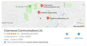 Google Maps Local 3 Pack information for Charnwood comms